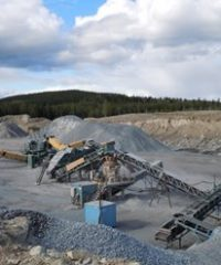 Aggregates from the mobile crushing plant in Bjurholm